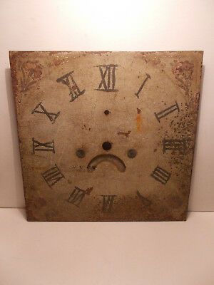 "Antique 11"" Square Painted Longcase Grandfather Clock Dial Spares Restoration"