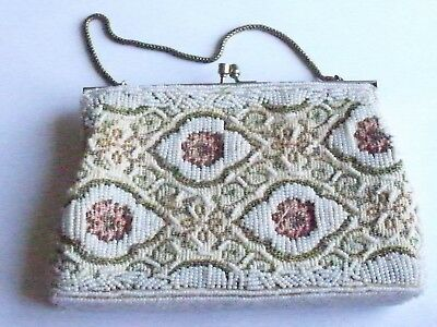 Vintage Retro White Beaded Evening Bag, Woven Backing, Unique Hand Bag/Purse