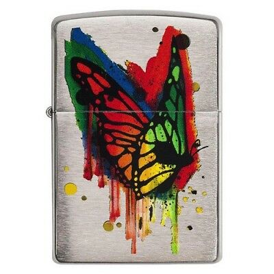 Zippo 29392 Butterfly Rainbow Windproof Brushed Chrome Classic Lighter