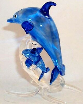 Glass Blue Jumping Dolphin WITH BABY ON TAIL Marine Figurine Hand BlowN 3 PC.