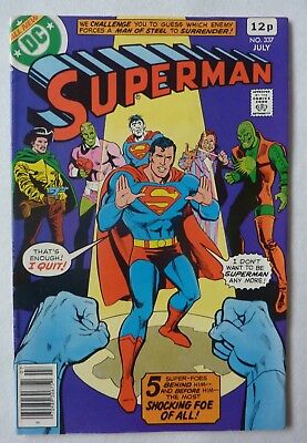 Superman 337 Bronze Age Excellent Condition Bagged And Boarded DC