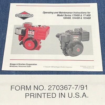 Qty (1) Briggs & Stratton Operating/Maintenance Manual 170400, 171400, 190400...