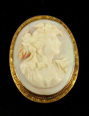 Antique Victorian 10k Gold  Pink Angel Skin Nouveau Lady Coral Cameo Pin Pendant
