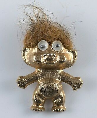 "Vintage Gold Colored Troll With Googly Eyes Necklace Pendant Metal 1.5"" 1960's"