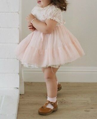 Vintage Baby Toddler Girl Pink Ruffle Lace Slip Petticoat Party Dress Full Skirt