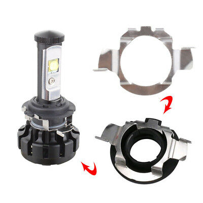 2 Pcs Silver H7 LED Headlight Bulb Retainers Holder Adapter