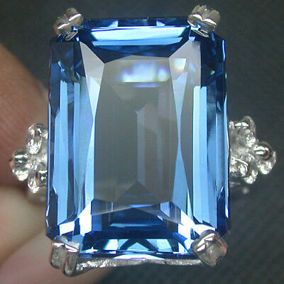 Big Size! Aaa London Blue Topaz 925 Sterling Silver Ring