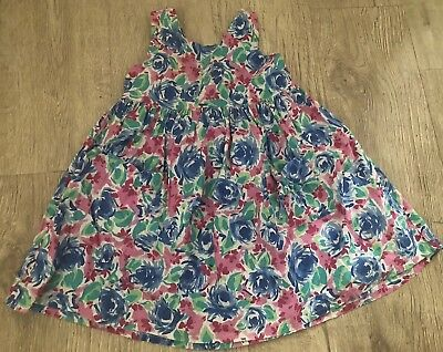 5614f62bf77 Vintage Baby Girl Dress Floral Jumper Low Back 80 s 90 s Size 5 Pockets  Toddler