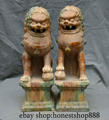 "16"" Old Chinese Tang sancai Ceramics Feng Shui Foo Dog Lion Sculpture Pair"