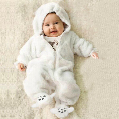 Newborn Baby Infant Boy Girl Romper Hooded Jumpsuit Bodysuit Outfits Clothes USA