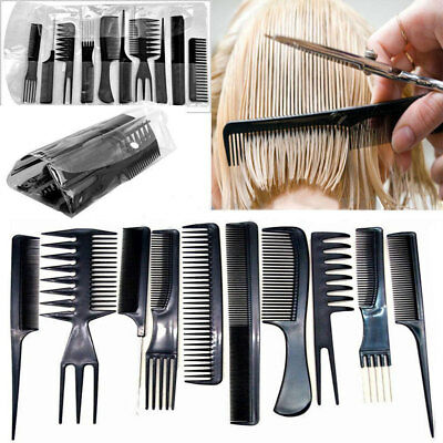 Professional Black Hairdressing Brush Barbers 10 pcs Hair Styling Comb Set