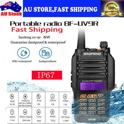 8W Baofeng UV-9R Dual Band Two Way Radio IP67 Waterproof Walkie Talkie AUSTORE