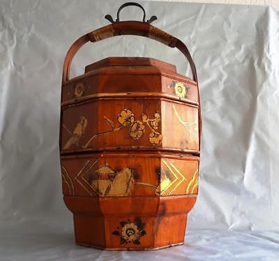 Vintage Wooden Chinese Hand Painted 3 Tier Stacking Decorative WEDDING BASKET