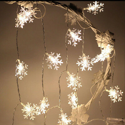 10M 28LED Christmas Tree Snow Flakes Led String Fairy Lights Party Garland Decor
