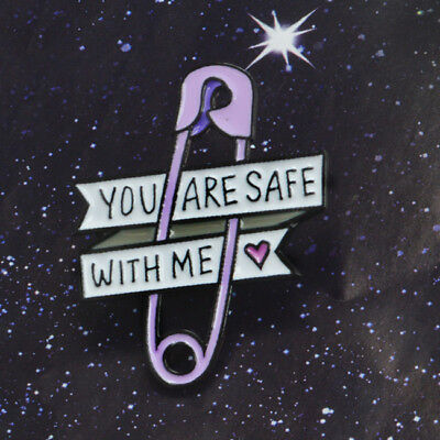 You Are Safe With Me Enamel Brooch Badge Shirt Collar Pin Accessories Jewelry BS