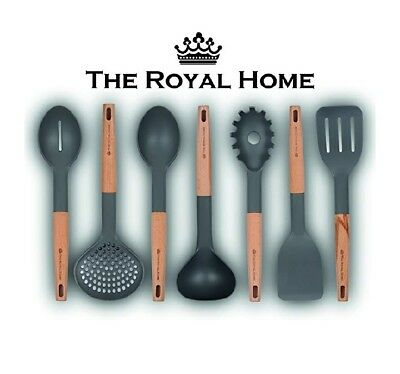 Kitchen Utensil Set  7 Piece Wooden Handle Cooking Utensils  Nonstick Kitchen