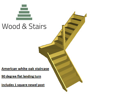 Oak 90 degree turn staircase- Flat Landing- 1 newel post- ANY SIZE