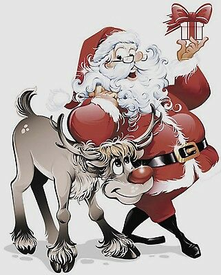 "2 Christmas Santa with Rudolph 3-3/4"" X 3"" Waterslide Ceramic Decals Bx"
