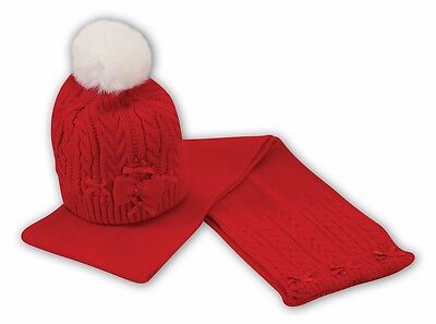 SARAH LOUSE Girls Red Knitted Hat and Scarf Set Style 008013 BNWT