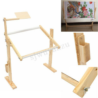 Adjustment Wooden Floor Stand Holder Embroidery Frames Cross Stitch Craft