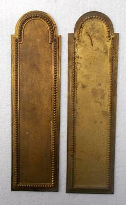 2 Vintage French Brass Door Push Plates Finger Plates #R7