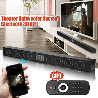 Bluetooth Soundbar TV Home Theater Speaker System Built-in Subwoofer 3D Surround