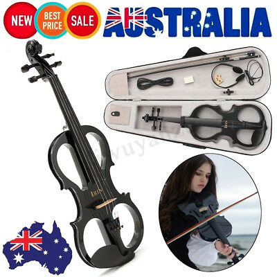 4/4 Maple Electric Violin Full Size with Ebony Fittings Cable Headphone&Case