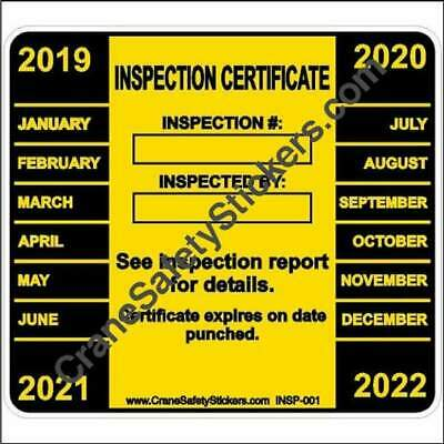 Crane Inspection Certificate Sticker for 2019, 2020, 2021, 2022 Hole Punch
