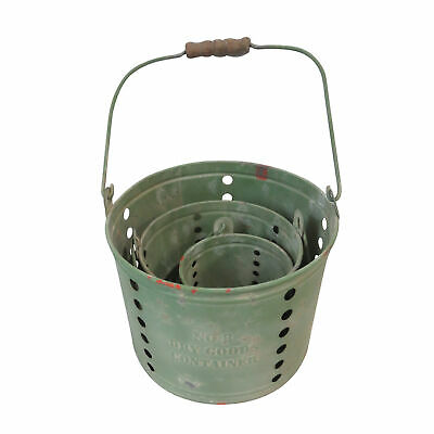Set of 3 Shabby Chic Green Metal Plant Pots Planters Garden