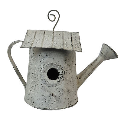 Shabby Chic Grey Painted Metal Garden Watering Can Shaped Bird House AllChic