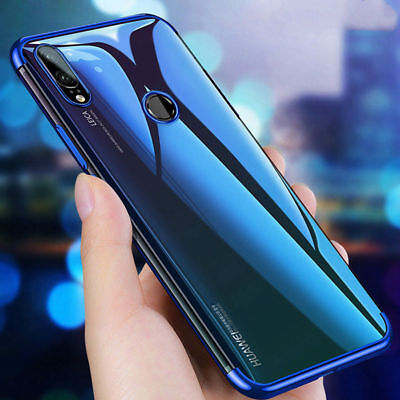 For Huawei Honor Play 8X Electroplate Clear Back Slim Soft TPU Hybrid Case Cover