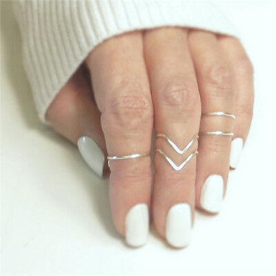 5pcs/set Fashion Women Gold Silver Above Knuckle Finger Ring Band Midi Rings Z