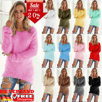 Damen Winter Warme Pullover Sweater Strickpullover Sweatshirt Fleece Pulli Bluse