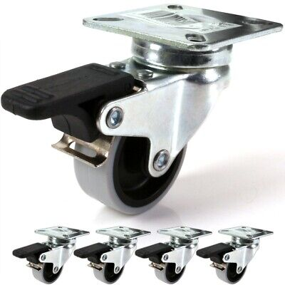 "4 x BRAKED CASTOR WHEELS 2""/50mm Trolley Dolly Caster UP TO 200Kg Strong Grey"