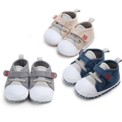 Newborn Baby Boys Girls New Style Canvas Shoes Letter Pre Walker Soft Sole Shoes