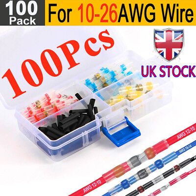 100X 4 Size Solder Seal Sleeve Heat Shrink Butt Wire Splice Connector Terminals