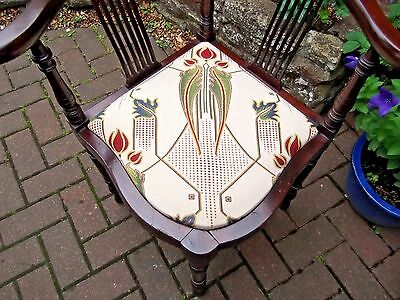 Antique Edwardian Corner Chair~Mahogany~New Rennie Mackintosh Upholstery