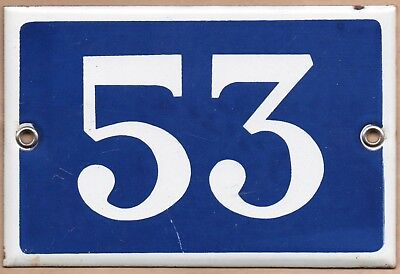 Old blue French house number 53 door gate plate plaque enamel steel metal sign