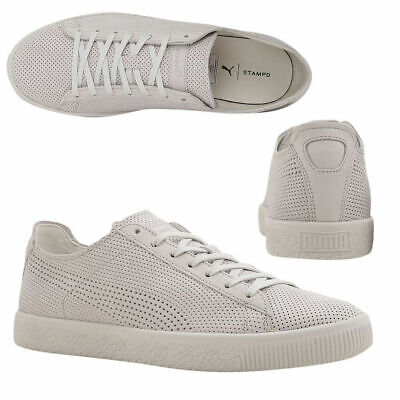 quality design e3b65 56b09 PUMA X STAMPD Clyde Lace Up Mens White Leather Trainers 362736 02 M18