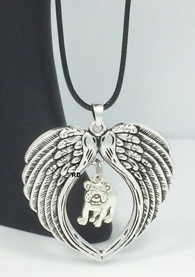 French Bulldog  Dog  Lovers Angel Wings Memory Leather Necklace