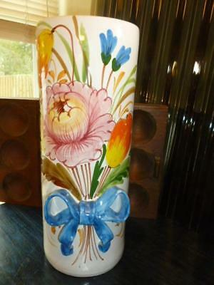 """Vintage Hand Painted Pottery Flower Bouquet Blue Bow Umbrella Cane Stand 16.5"""""""