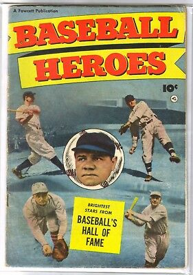 BASEBALL HEROES Babe Ruth Cover! Vintage Golden Age Fawcett Comic Book ~ VG