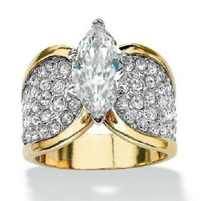 Luxury Women Ladies Gold Toned Full Crystal Rhinestone Clear Ring Jewelry Gift