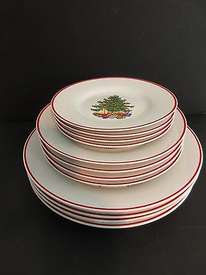 12 pc Cuthbertson AMERICAN CHRISTMAS TREE Dinner Salad Bread Dessert PLATES