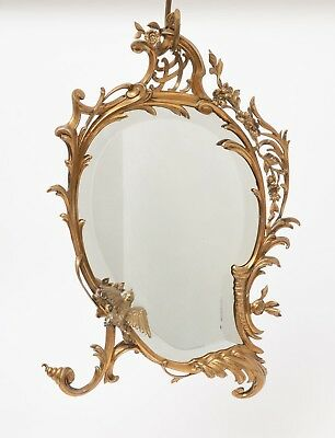 Antique Early 20th Century Brass Highly Decorative Shaped Mirror with Bird