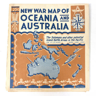 """RARE Vintage War Period OCEANIA And AUSTRALIA Large Scale Map 40.50"""""""
