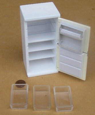 1:12 Scale Empty White Wooden Fridge Freezer Tumdee Dolls House Accessory 008