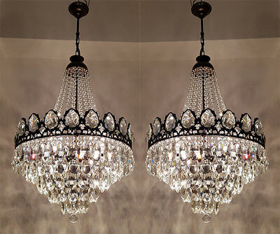 A Pair of Antique French Basket Style Brass & Crystals GIANT Chandeliers from 19