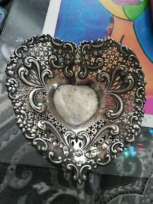 OLD GORHAM CO. STERLING SILVER FOOTED HEART SHAPED CANDY DISH / BOWL FROM 1880's