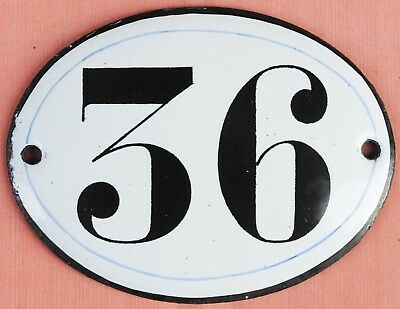 Old oval French house number 36 door gate plate plaque enamel steel metal sign